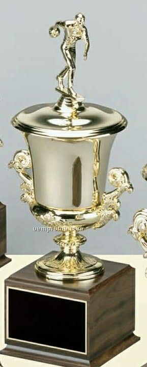Tall Bright Metal Gold Cup On Cherry Finished Base