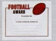 "8 1/2""X11"" Stock Sport Certificate - Football Award"