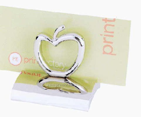 Apple Chrome Metal Business Card Holder Paperweight (Engraved)