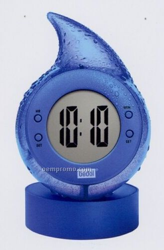 Blue Water Powered Drop Clock With Alarm Function