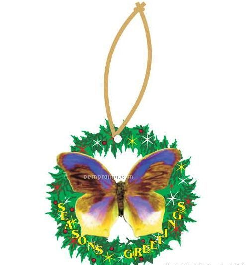 Purple & Yellow Butterfly Wreath Ornament W/ Mirrored Back (12 Square Inch)