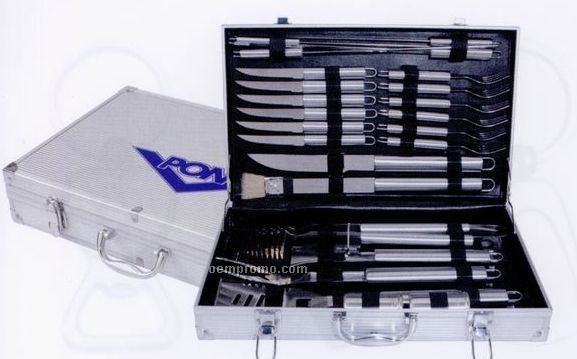 24-piece Stainless Steel Bbq Tool Set In Aluminum Case