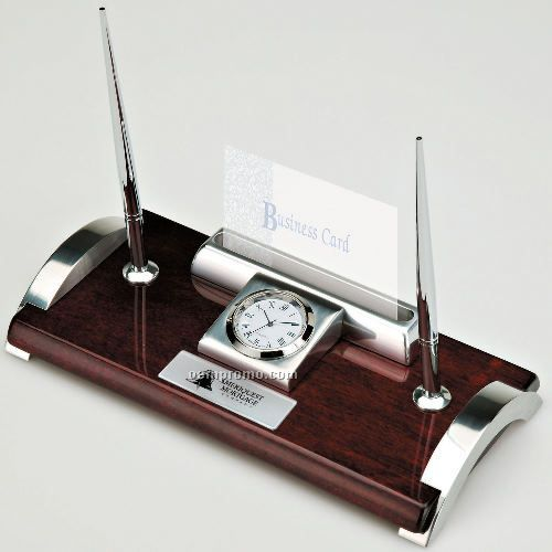 Executive Pen Set/ Clock & Card Holder