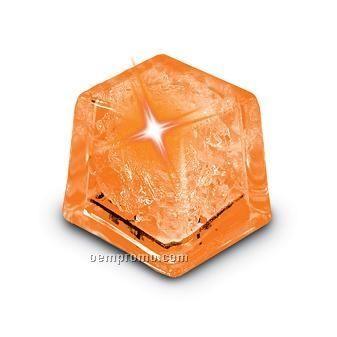 Orange Liquid Activated Mini Ice Cube W/ Steady LED Light