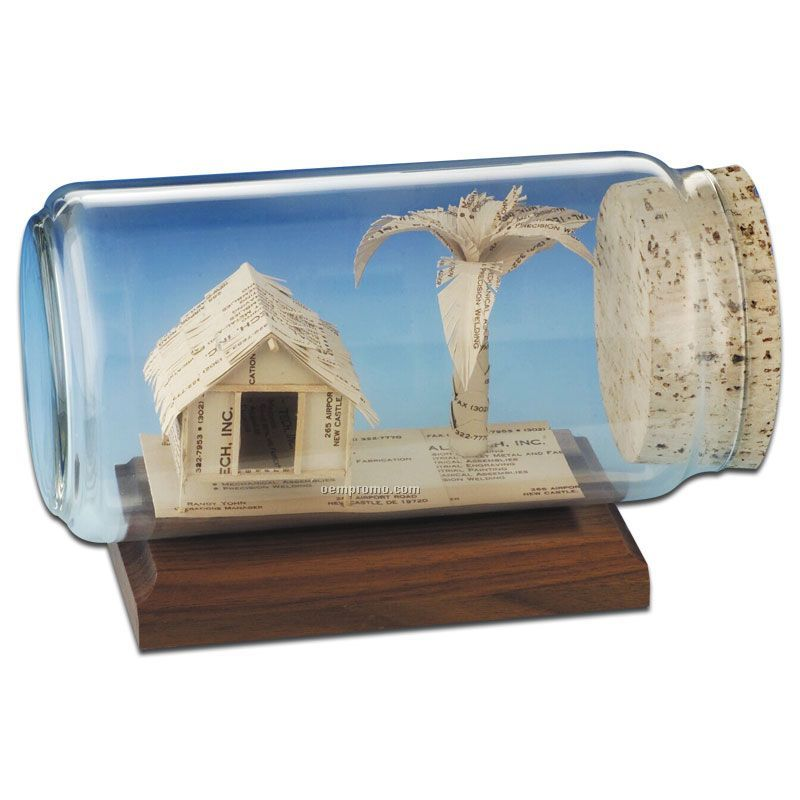 Stock business card sculpture in a bottle palm tree hutchina stock business card sculpture in a bottle palm tree hut colourmoves