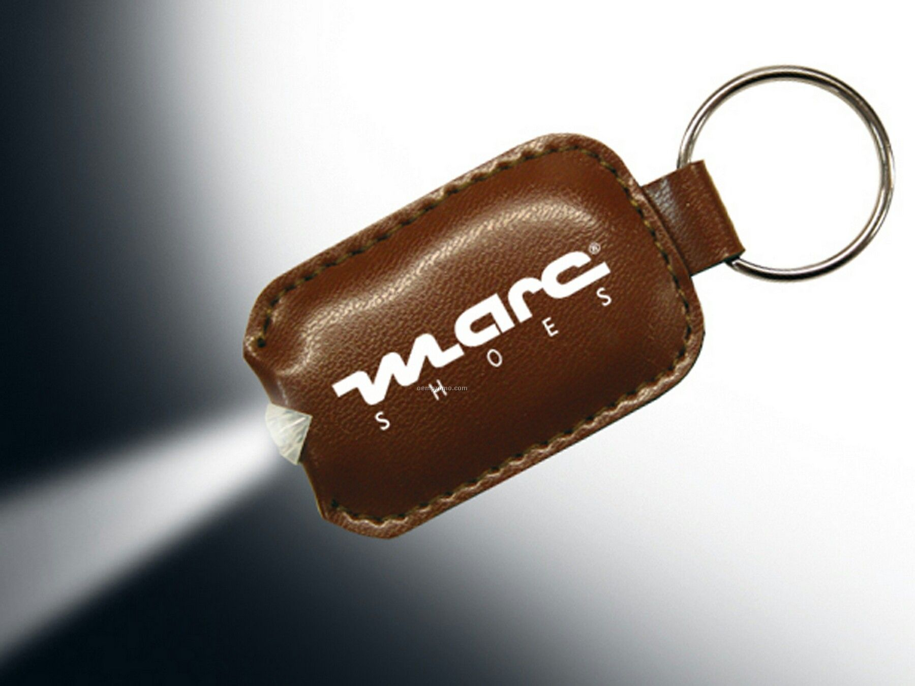 Brown Leatherette Pouch Flashlight Keychain
