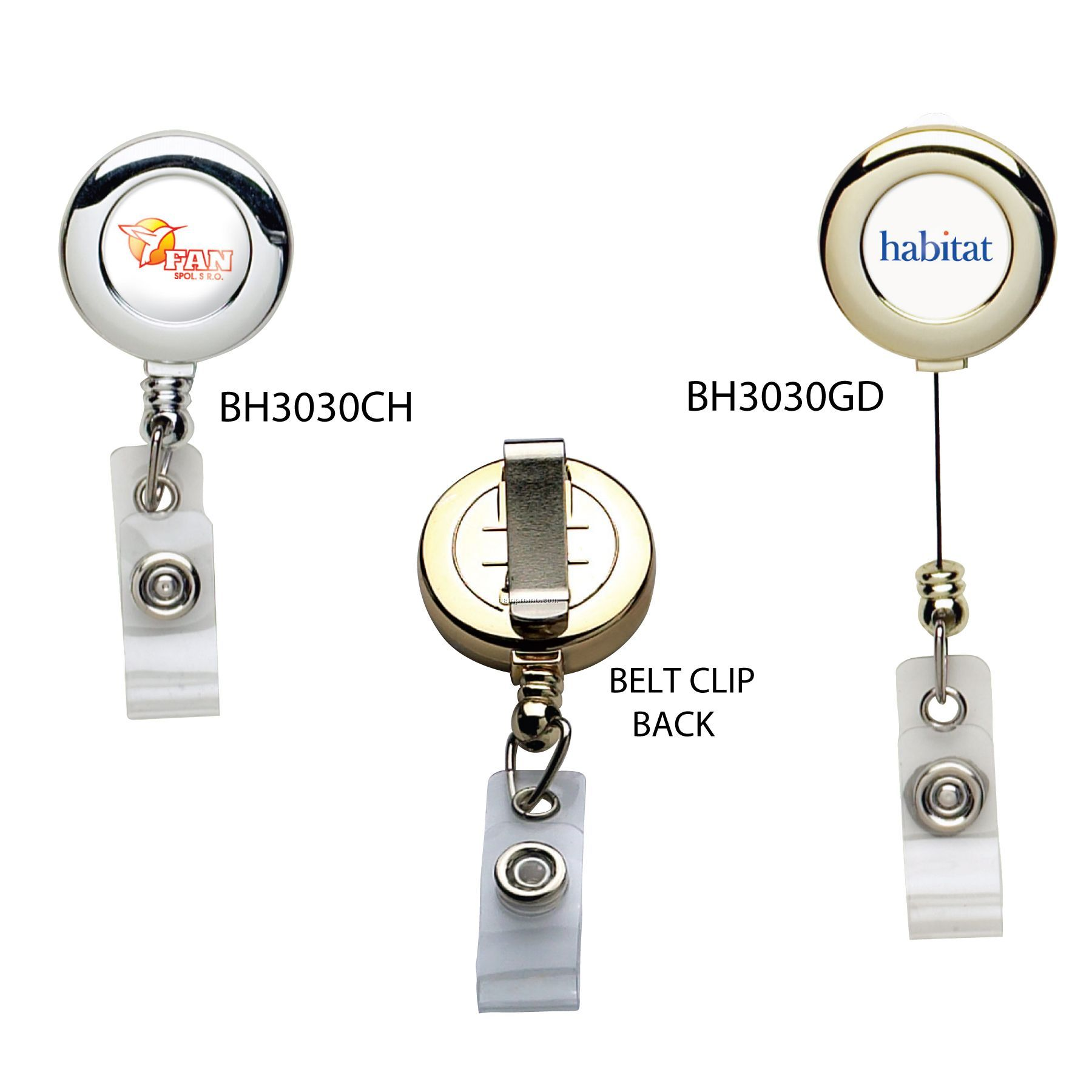 Metallic Finish Retractable Badge Reel: (Polydome)