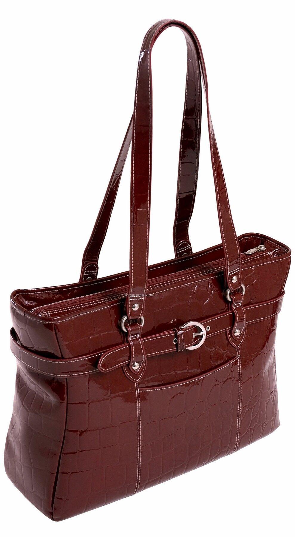 Serra Leather Ladies' Laptop Tote - Cherry Red