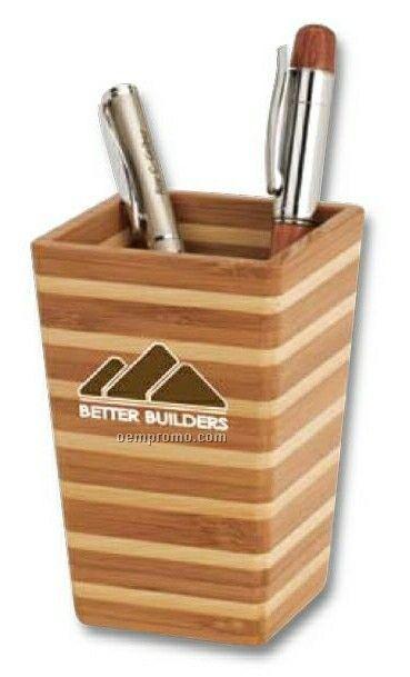 2 Tone Bamboo Striped Desktop Pen Holder