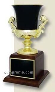 """Black Urn Cup On 9"""" Walnut Base (11 1/2"""")"""