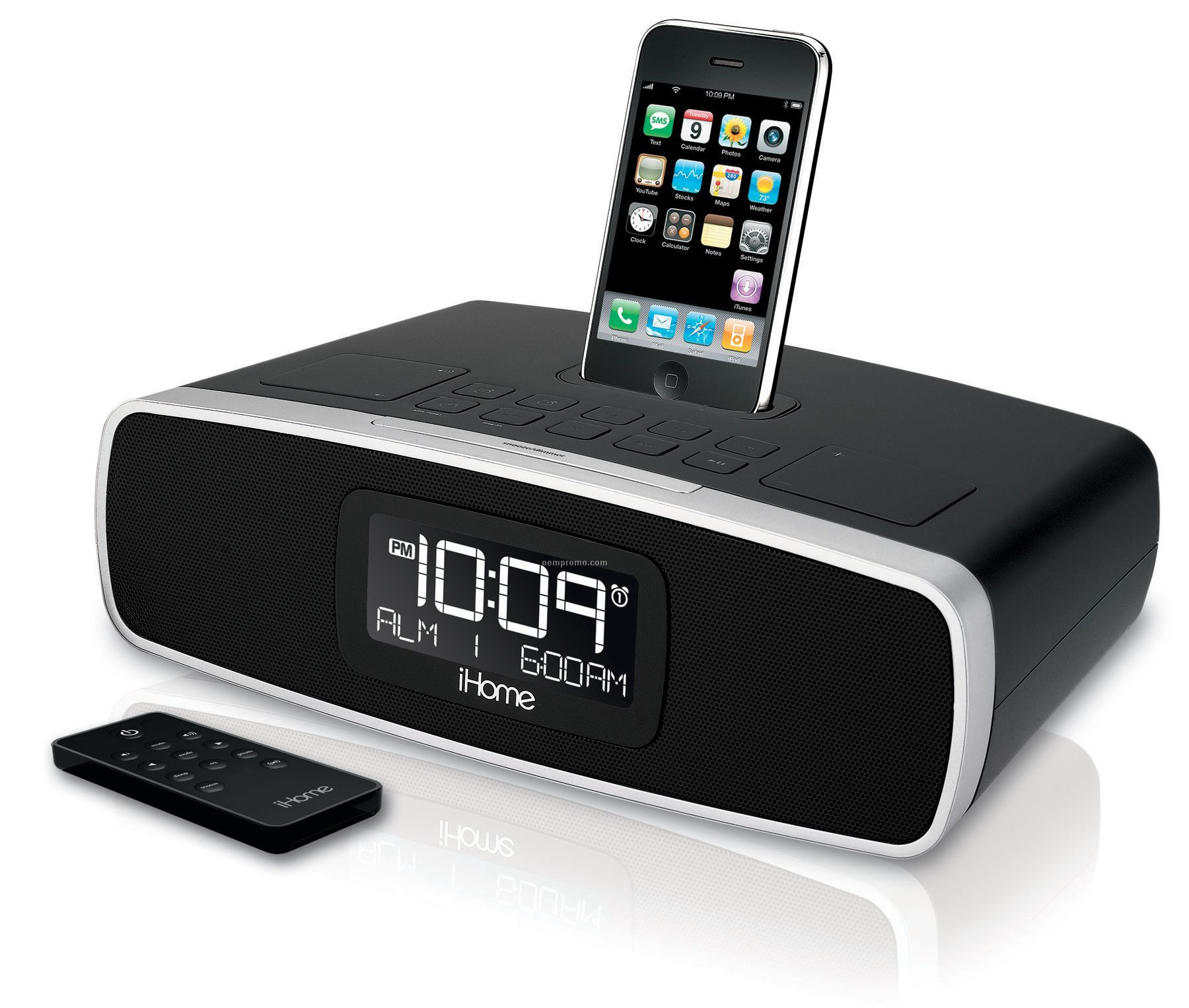 ihome dual alarm clock radio for iphone ipod am fm black china wholesale ihome dual alarm. Black Bedroom Furniture Sets. Home Design Ideas
