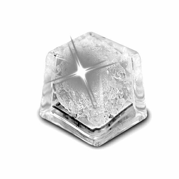 White Liquid Activated Mini Ice Cube W/ Steady LED Light