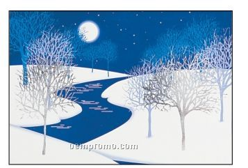 Cold Night Trees With Snow And River Holiday Greeting Card (After 10/01/11)