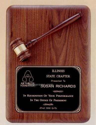 "Parliament Series American Walnut Plaque W/ Walnut Gavel (11""X15"")"