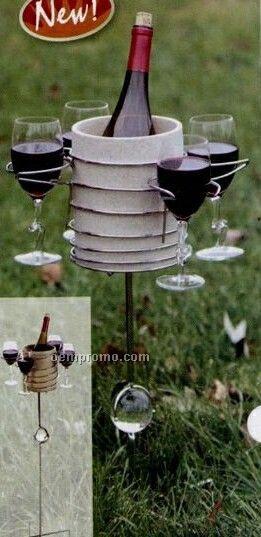 Picnic Plus Outdoor Wine Carousel Handy Holder W Wine