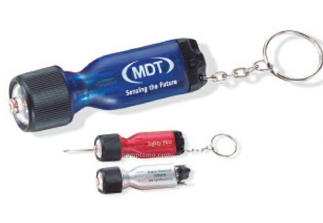Screwdriver Flashlight W/ Keychain (Printed)
