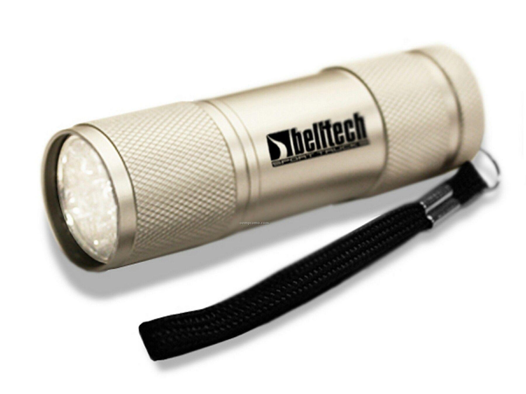 Super 9 LED Flashlight Silver