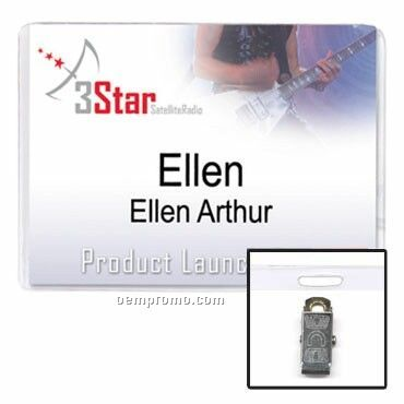 Vinyl Name Tag Holder W/ Clip & Slot - Blank (4