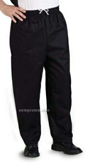 Solid Black Poly/ Cotton Baggy Chef Pants - (Xs-xl)
