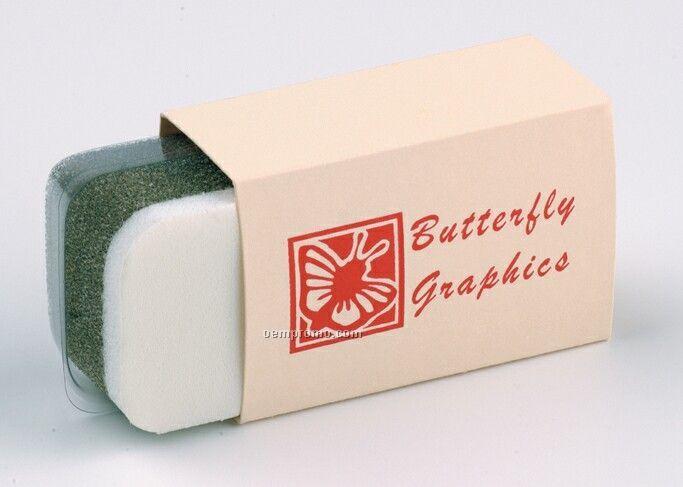 Economical Shoe Shine Sponge W/ Imprinted Ivory Paper Sleeve