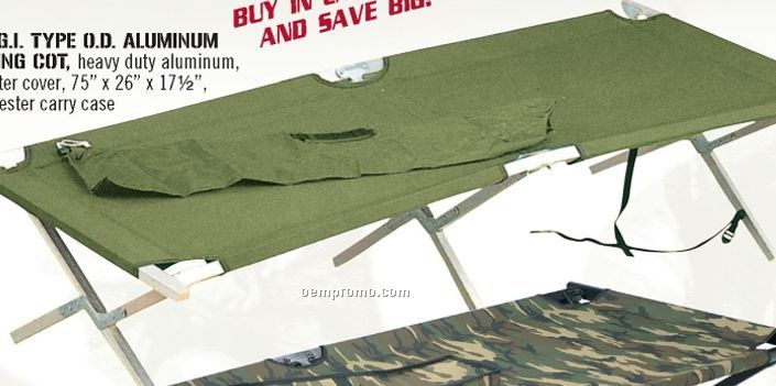 Gi Type Military Olive Green Drab Aluminum Folding Cot