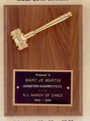 Parliament Series Plaque W/ Goldtone Metal Gavel