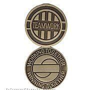 """1-1/2"""" Brass Partnership Series Coin (Teamwork)"""