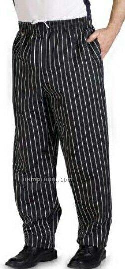 Black & White Chalk Stripe Poly/ Cotton Baggy Chef Pants - (Xs-xl)