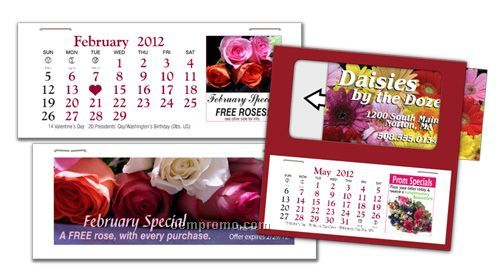 """Ad-a Month 4"""" 13 Month Calendar Pad (Front And Back Ad Space)"""