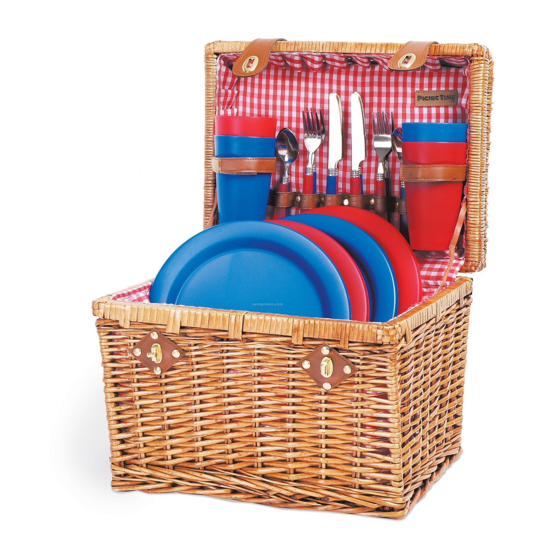 Cheap Picnic Basket For 4 : Oxford willow picnic basket w service for blue red