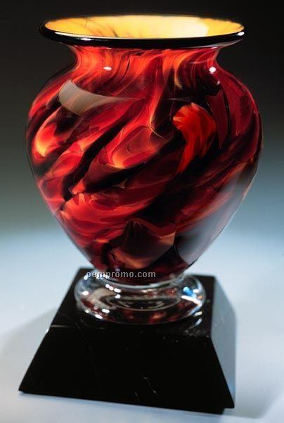 "Swirling Embers Cauldron Vase W/ Marble Base (5.5""X9"")"