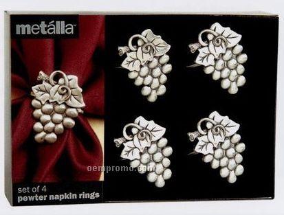 Metalla Pewter 4 Piece Grapes Napkin Ring Set