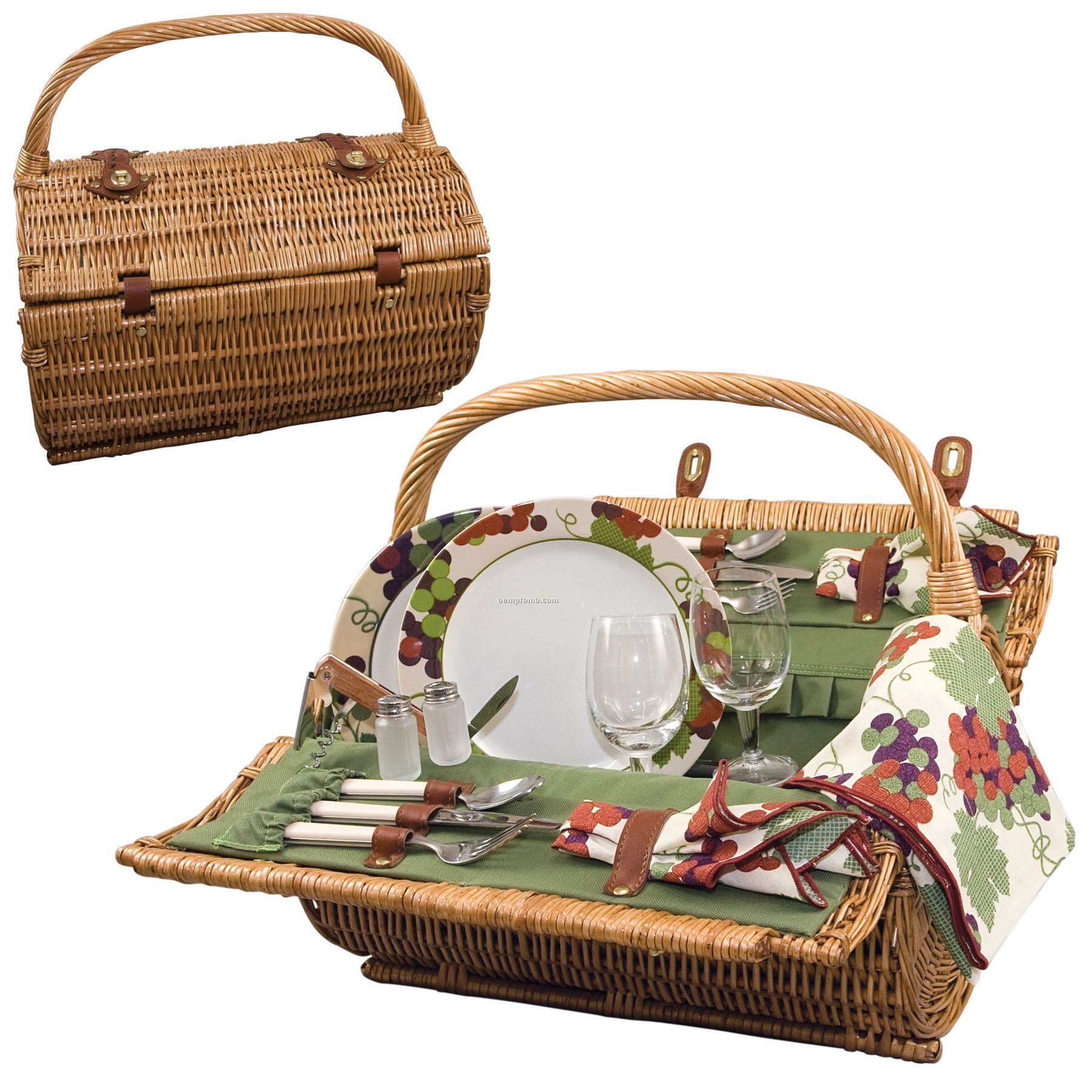 "18.5"" Barrel Picnic Basket W/ Service For Two (Grape Pattern Accents)"