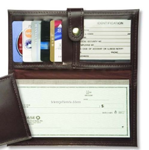 Deluxe Leather Checkbook Credit Card Organizer - Oxford Bonded Leather