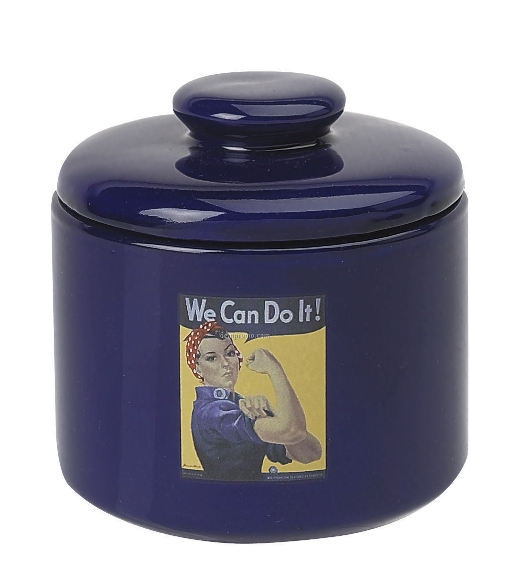 12 Oz. Cobalt Blue Ceramic Candy Jar W/ Lid