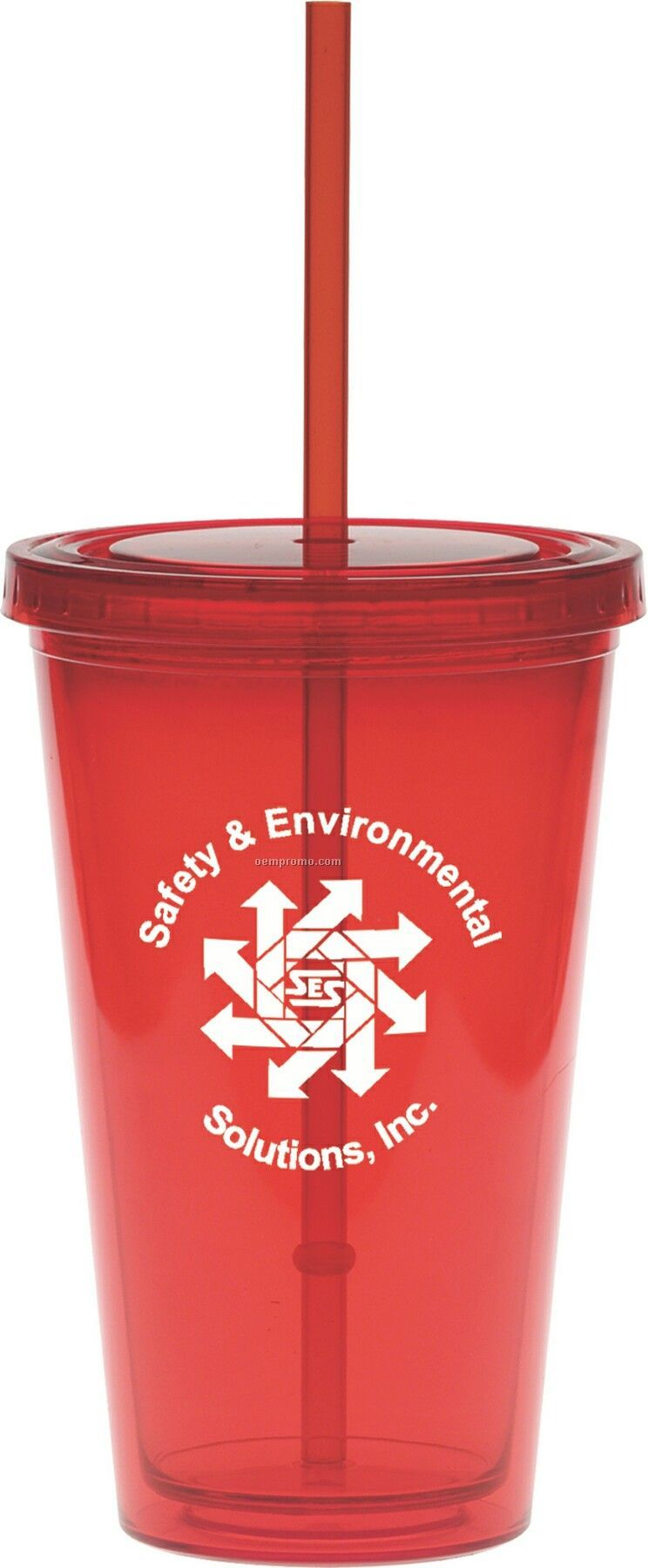 20 Oz. Red Carnival Cup W/ Red Straw
