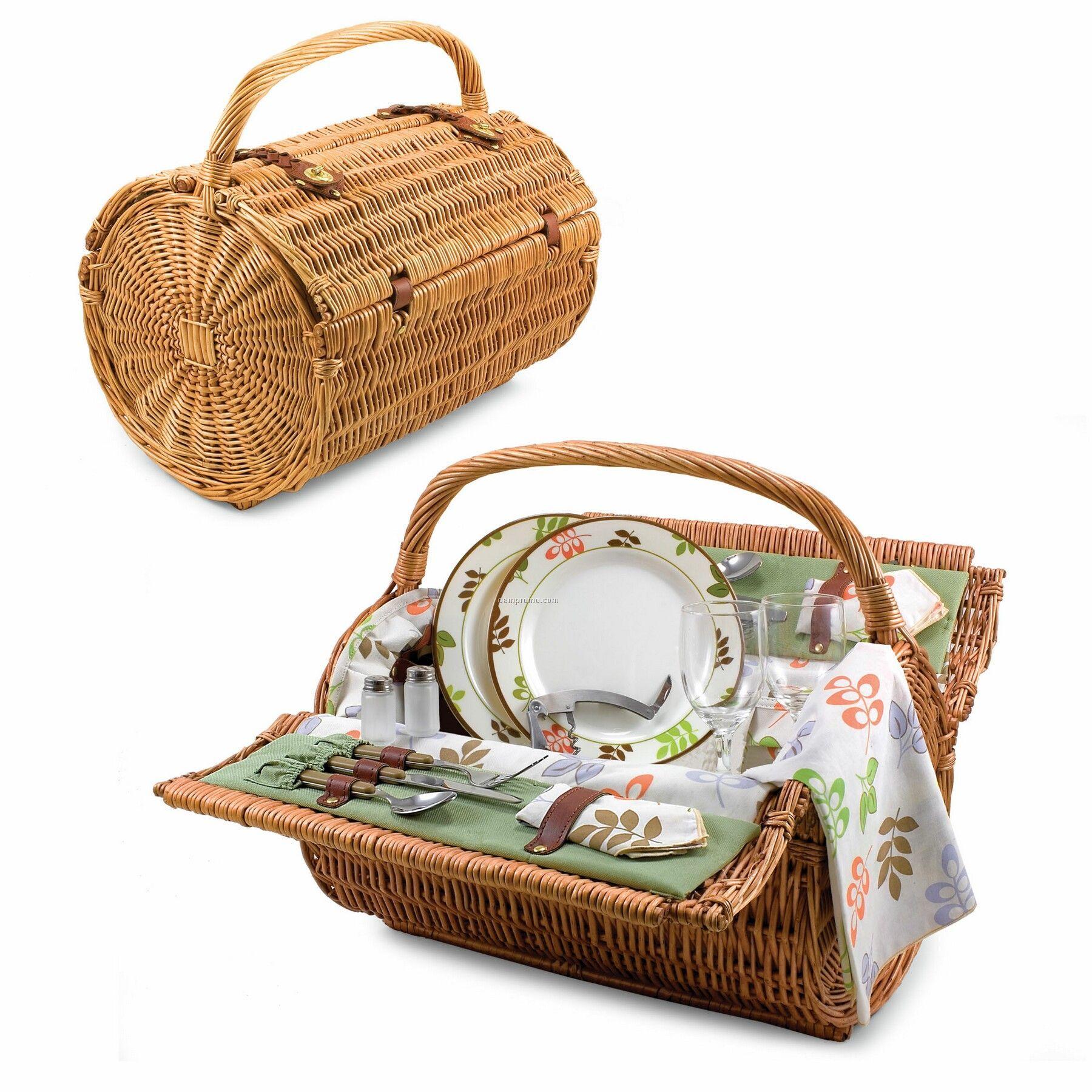 """Botanica 18"""" Barrel Picnic Basket W/ Service For 2 (Floral Trim)"""