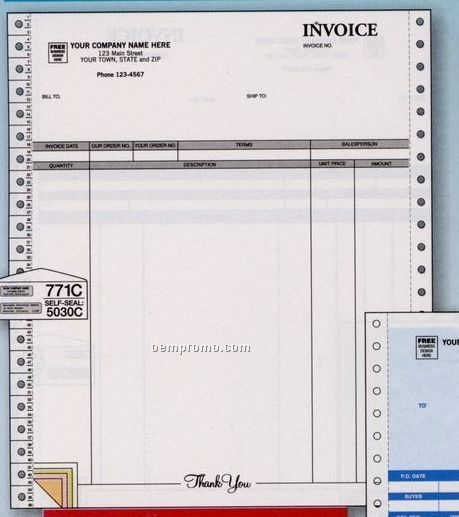 Classic Continuous Invoice W/ Packing Slip (5 Part)
