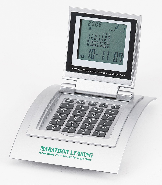Silver World Time Clock/ Calculator/ Calendar/ Alarm