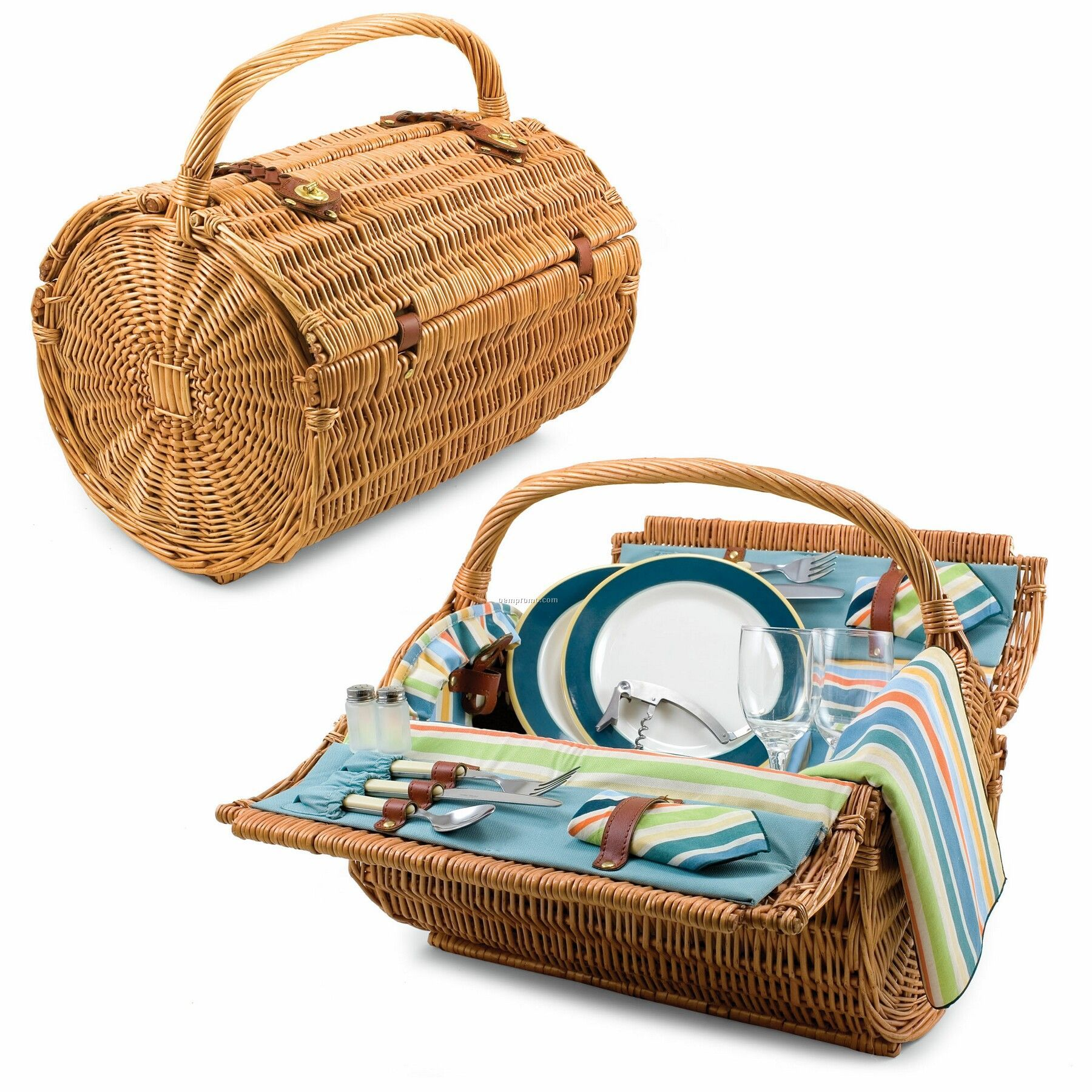"St. Tropez 18.5"" Barrel Picnic Basket W/ Service For 2 (Aqua Stripe)"