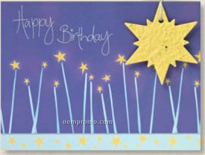 Happy Birthday Card With Star Seed Decoration With Raffia Bow – Birthday Cards Decoration