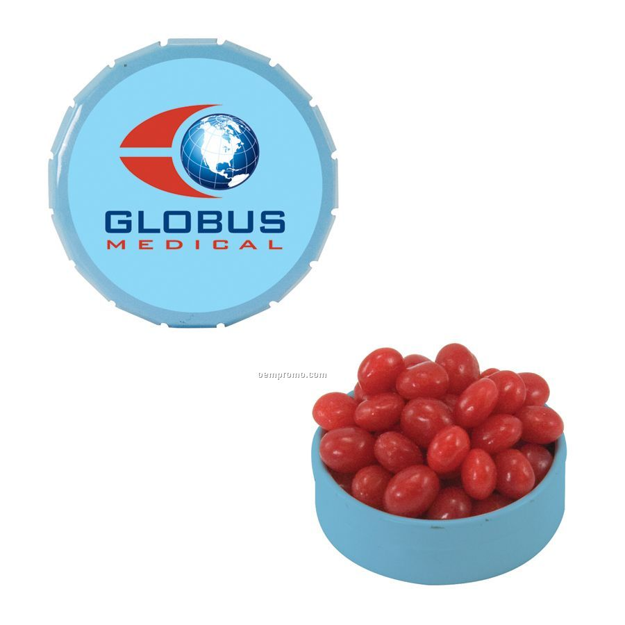 Small Light Blue Snap-top Mint Tin Filled With Cinnamon Red Hots