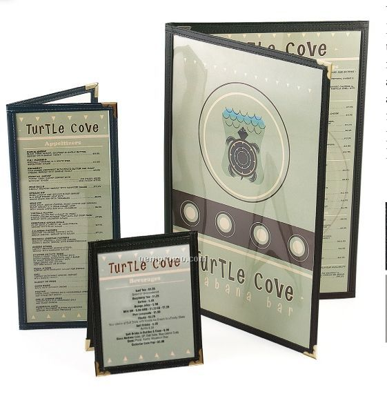 "Vinyl Sewn Menu Cover - Eight View/Book Style (4 1/4""X11"")"