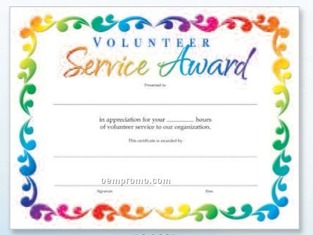 volunteer award certificates  Volunteer Service Award Foil-stamped Certificates,China Wholesale ...
