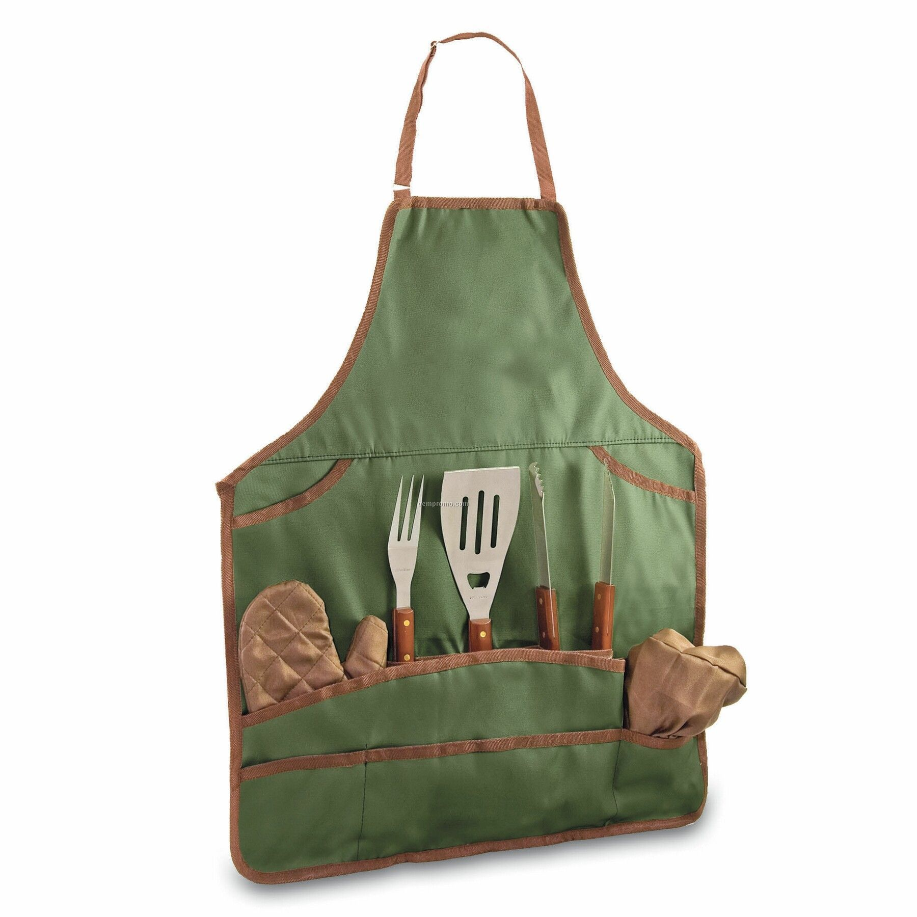 Bbq Apron Tote & Chef Hat W/ 3 Piece Stainless Steel Tool Set