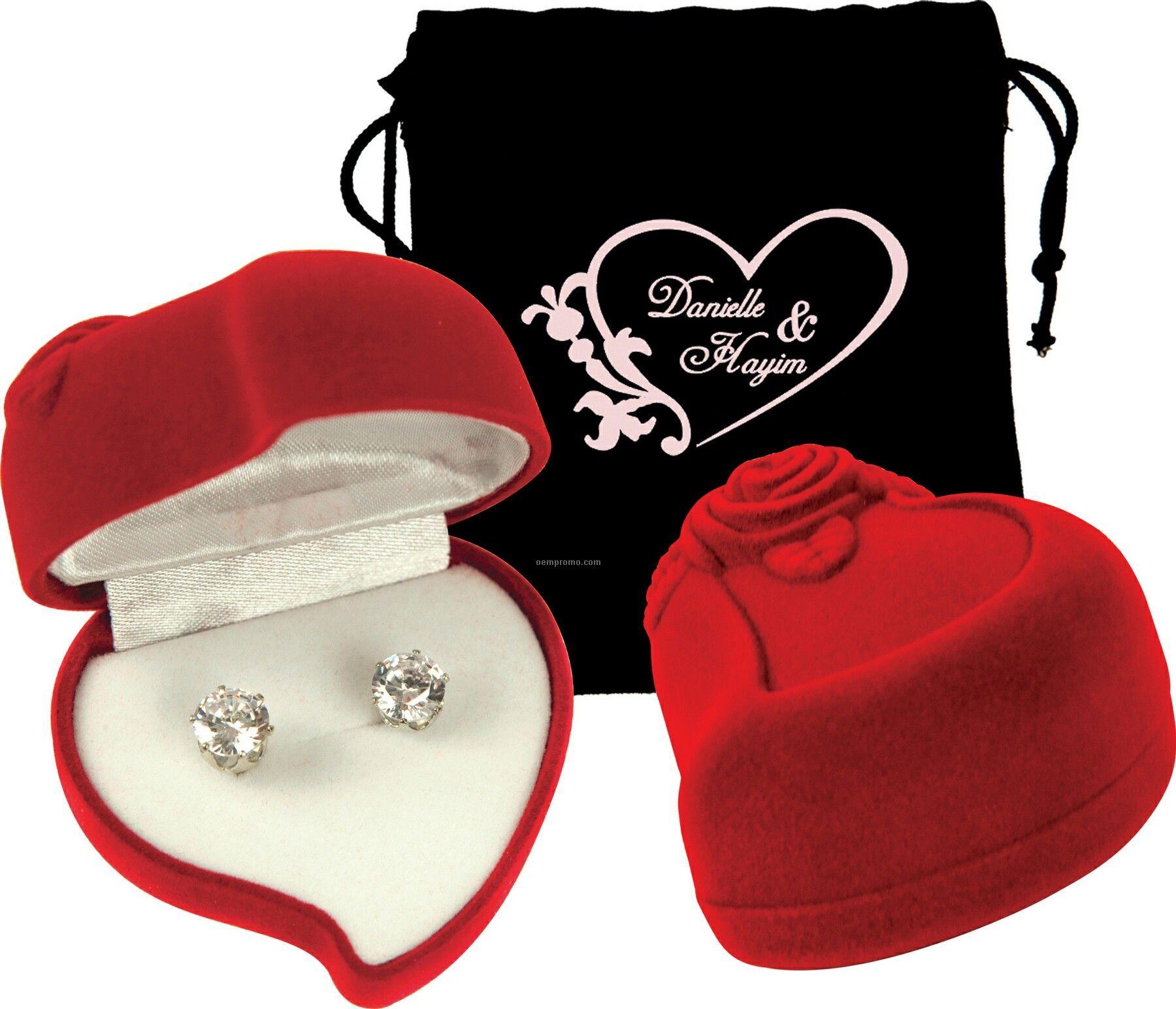 Cubic Zirconia Earrings With Heart Case