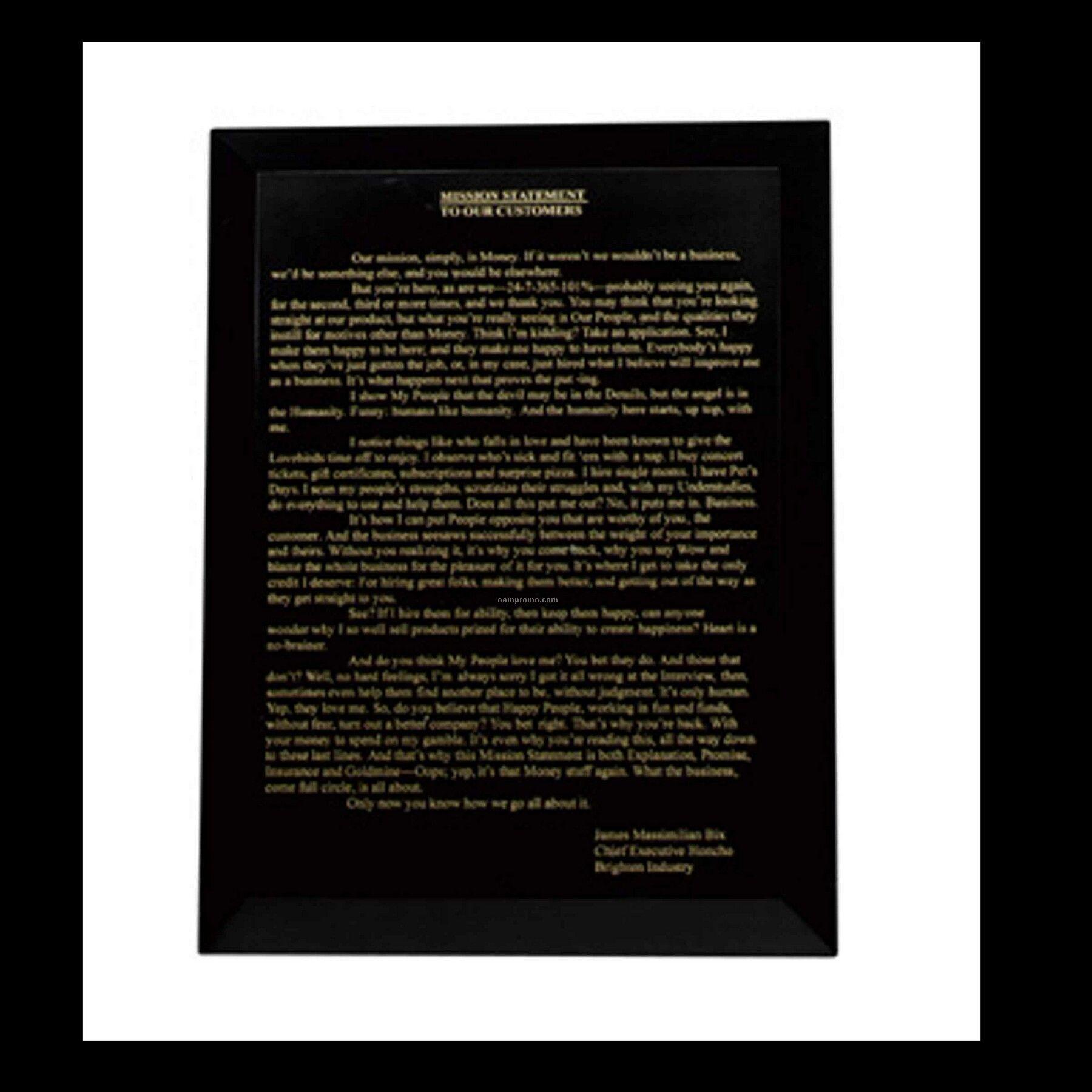 Large Jet Black Blank Plaque