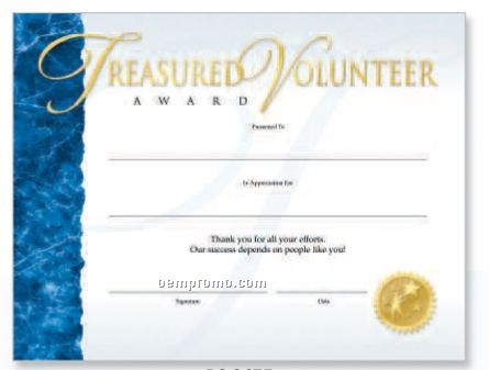 treasured volunteer award foil stamped certificates china wholesale