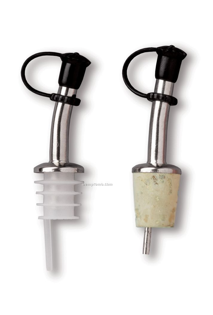 Brass/Nickel Plated Bottle Pourer With Plastic Cork