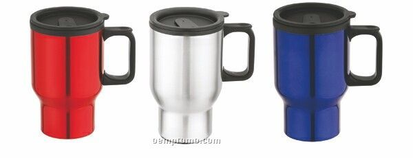 Travel mug 16 oz tumbler w stainless steel w d handle - Travel mug stainless steel interior ...